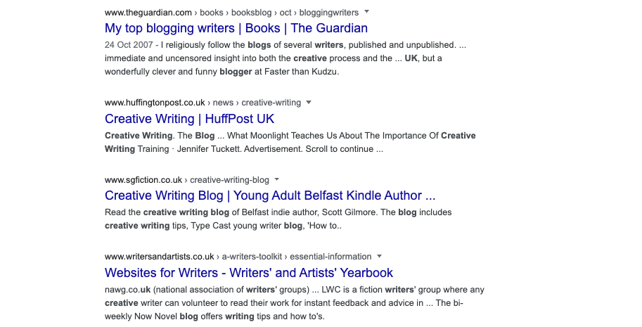 content plan google results